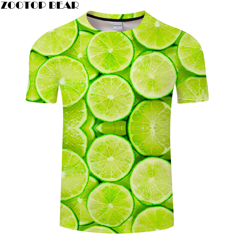 Green Orange tshirt 3D Print T-shirt Men Women t shirt Streetwear Tees Print Top Summer Camiseta Short Sleeve O-neck Small Fresh