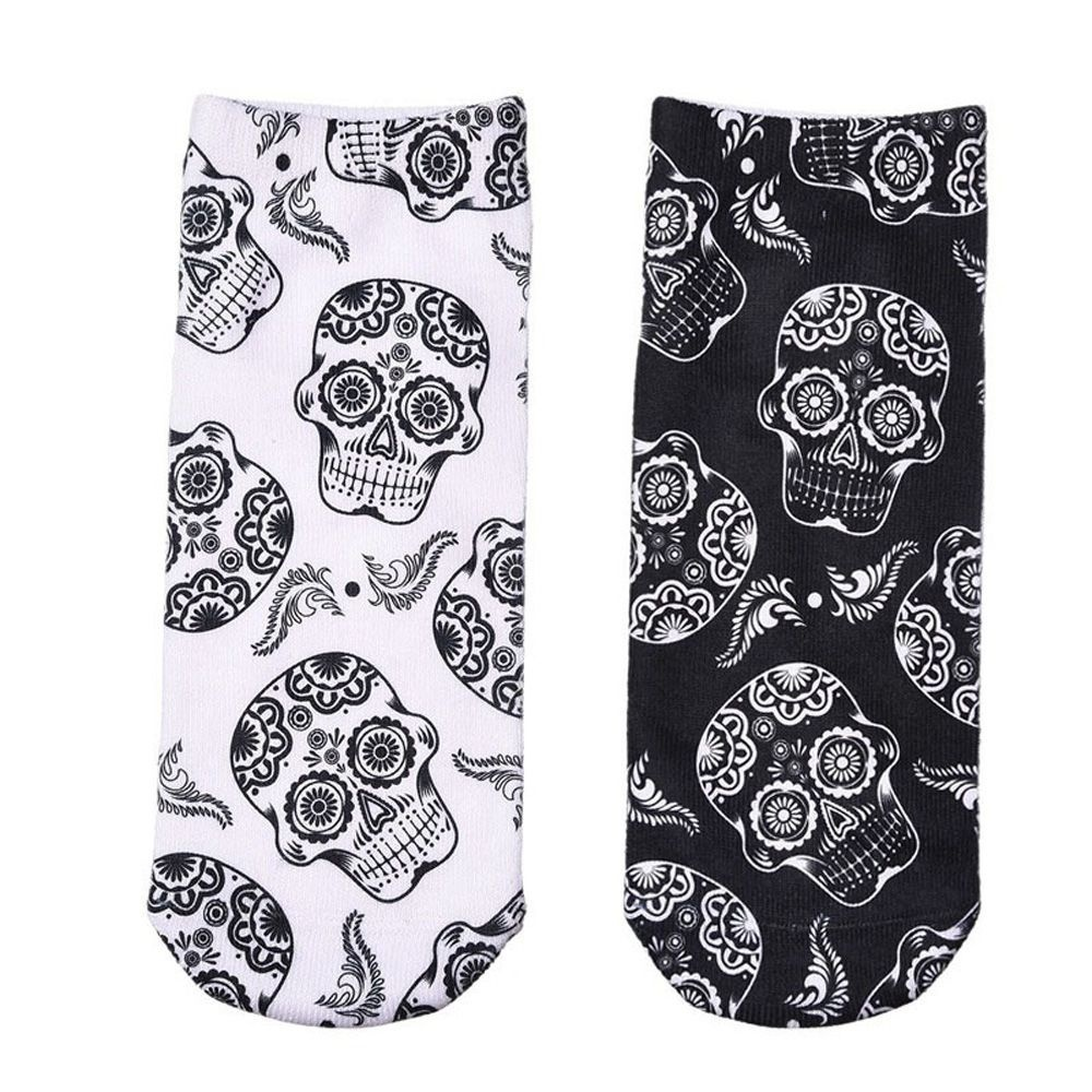 1 Pair Men Lady Fashion 3D Skull Print Women Unisex Short Socks Printed Socks Low Cut Ankle Socks