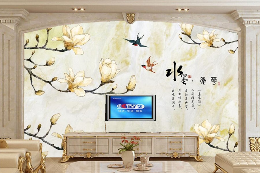 Chinese magnolia flower marble TV background wall 3d mural,restaurant living room tv sofa wall bedroom wallpaper papel de parede custom mural papel de parede foxes water stones animals wallpaper restaurant living room tv sofa wall bedroom 3d wallpaper