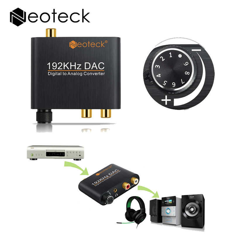 Numérique à Analogique Audio Converter Adaptateur Optique Coaxial toslink Signal Analogique RCA Convertisseur DAC Avec Contrôle Du Volume Adaptateur