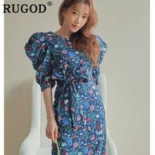 Женское винтажное платье с цветочным принтом rugod облегающее