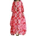 Estilo de primavera y Verano Mujeres Del Vestido Ocasional más tamaño vestido de flores de corte de cuello barco algodón de seda vestido de Las Mujeres Maxi Vestido túnica