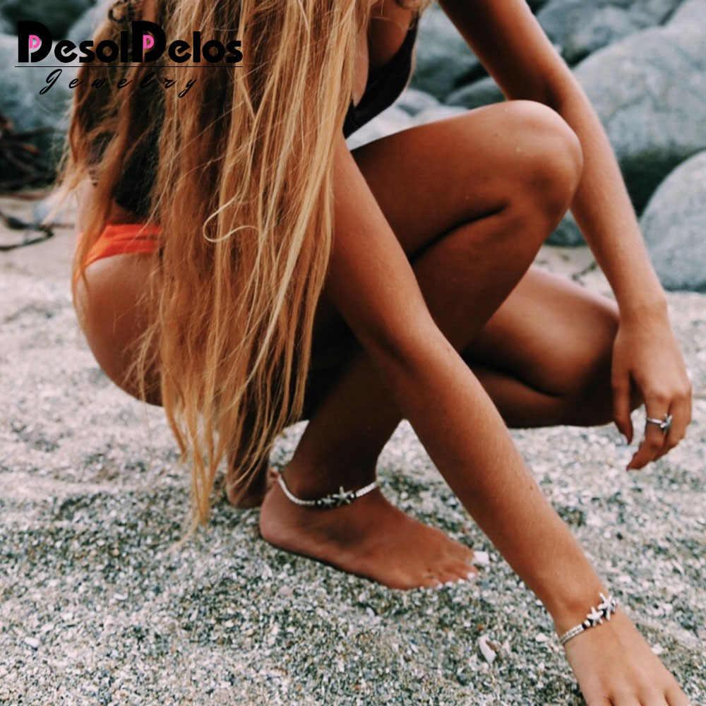ヴィンテージブレスレット足ジュエリーレトロアンクレット女性の女の子の足首脚チェーンチャームヒトデビーズブレスレットファッションビーチジュエリー
