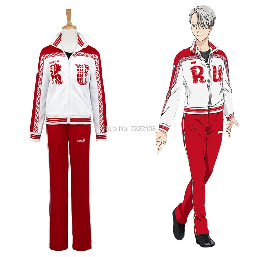 2018 New Anime Viktor Yuri on Ice Cosplay Costumes Victor Nikiforov Cosplay Clothes Sportwear Suit Jacket Pants Cosplay Costumes