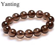Yanting natural crystal bracelets for women tea color crystal beads bracelet men gifts elastic bracelet jewelry new arrival 0127(China)