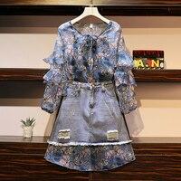 HAMALIEL Oversize 2 PCS Set 2019 Spring Chiffon Ruffles Print Floral Long Shirt Dress Women Suits + Hole Tassel Denim Skirt Suit