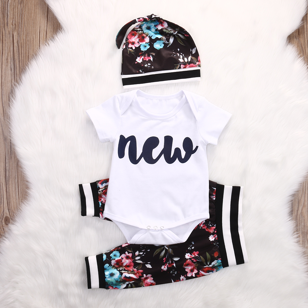 Cute Infant Baby Girl Clothing Set Tops Bodysuits Short Sleeve Pants Flower Hat 3pcs Baby Girls Clothes Outfits Set infant baby boy girl 2pcs clothes set kids short sleeve you serious clark letters romper tops car print pants 2pcs outfit set