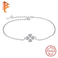BELAWANG Authentic 100% 925 Sterling Silver Chain bracelet female CZ Crystal Symbol of Love Clover Charm Bracelets & Bangles