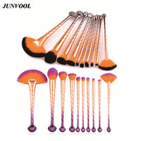 Conches Handle Soft Face Make Up Fan Brush 10pcs Shell Style Power Foundation Cosmetic Pro Blush