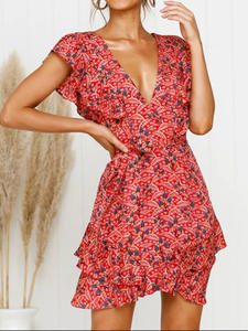 Sexy Dress Short-Sleeve Holiday Floral-Print Ruffle Bohemian Sweet Deep-V-Neck Mini Red