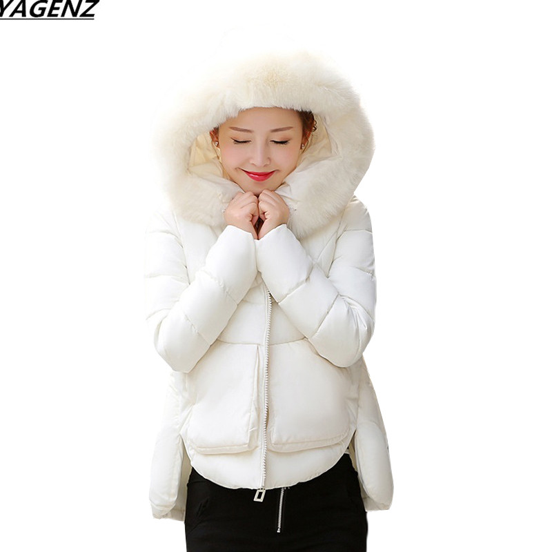 Women Jacket 2017 Winter Coat Parkas Hooded Fur Collar Down Cotton Jacket Student Cute Thicken Short Outerwear Big Size YAGENZ 2016 winter jacket women down coat fur hooded vest down coats vest pant underwear women s suit thicken set outerwear trousers