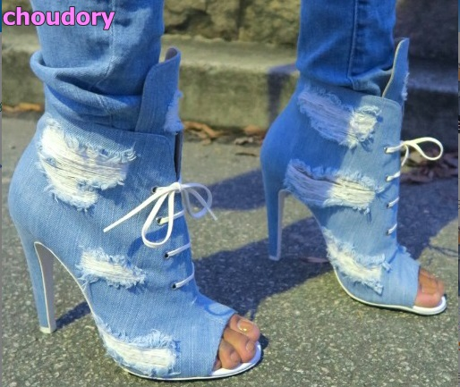Women luxurious sky blue denim high heel booties retro style ripped jeans ankle sandal boots open toe lace up short boots ripped skinny ankle jeans