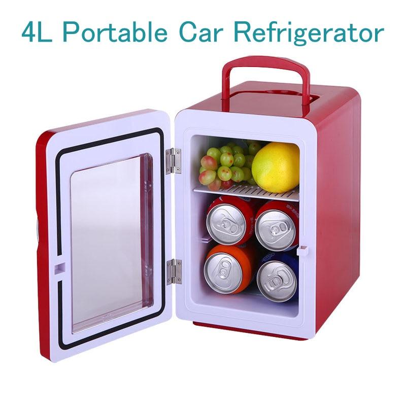 4L Portable Car Refrigerator Transparent Door Cosmetics Freezer Mini Household Food Cold Storage Refrigerator CW8-4L цена и фото