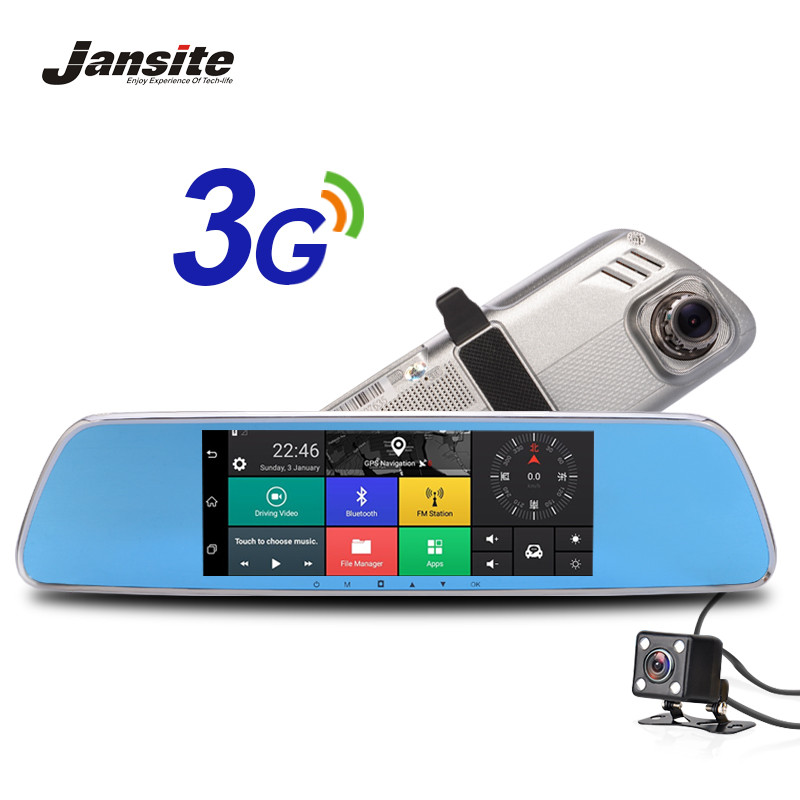 Jansite 3G Car Camera 7 Touch screen Android 5.0 GPS car video recorder Bluetooth rearview mirror Dash Cam Dual Lens Car Dvrs