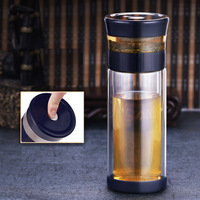 Chinese Tea Glass Bottle 300ml Seperation Glass With Infuser Hand made Glass OfficeTea Cup Double Layer With Sleeve Bag Business