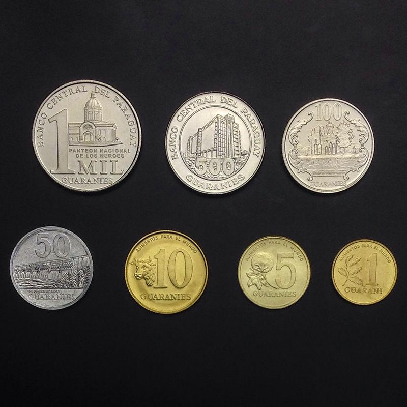 UNC Paraguay set of 7 coins 1992-2012 1+5+10+50+100+500+1000 Guaranies