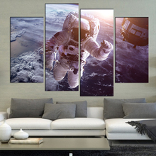 4 Pcs/Set Large Abstract Astronaut in Space Canvas Print Painting Modern Special Figures Sea Wall Art Picture Living Room Decor