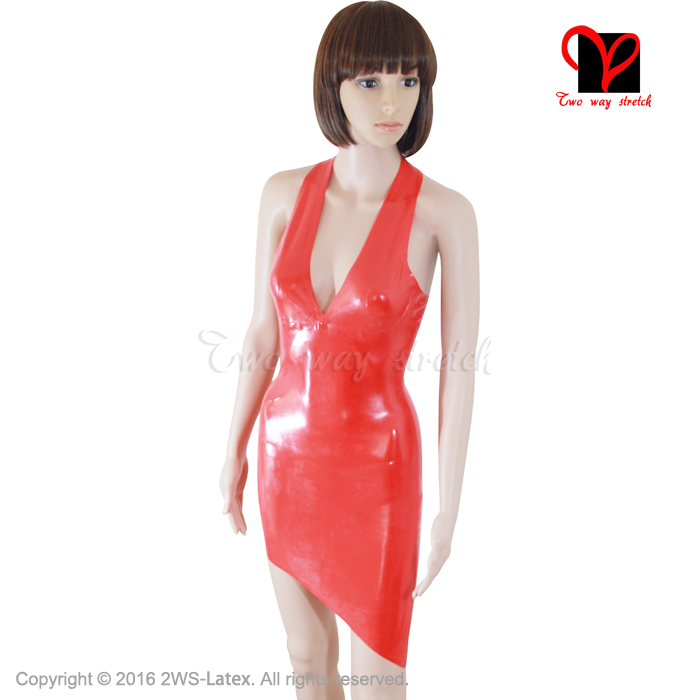 Red Sexy Latex Dress Rubber deep V Pencil mini top Shift Cut Out Asymmetric Hem Playsuit halter Backless XXXL plus size QZ-004 цены