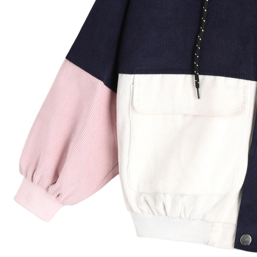 Long Sleeve Corduroy Patchwork Oversize Zipper Jacket Windbreaker coats and jackets women 52