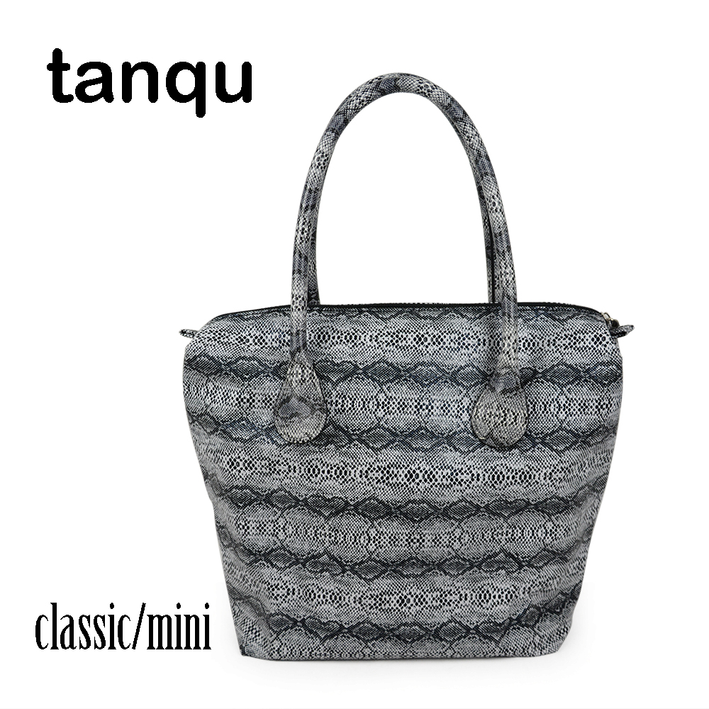 tanqu leather Serpentine Insert or Classic Mini Obag Waterproof Faux Snakeskin Inner Handle Combination for O Bag Handbag new colorful cartoon floral insert lining for o chic ochic canvas waterproof inner pocket for obag women handbag