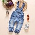 Novo 2016 outono meninos meninas denim geral menina calça jeans bebê macacão crianças roupas meninos moda com capuz