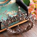 New Arrival Baroque Gold Brides Tiara Crown Black Crystal Hairbands Wedding Hair Accessores