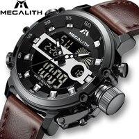 MEGALITH mężczyźni sport zegarek kwarcowy mężczyźni wielofunkcyjny wodoodporny zegarek luminescencyjny mężczyźni podwójny Dispay zegar Horloges Mannen z pudełkiem