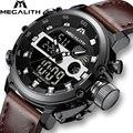 MEGALITH Модные мужские спортивные кварцевые часы мужские многофункциональные водонепроницаемые светящиеся наручные часы Мужские часы с двой...