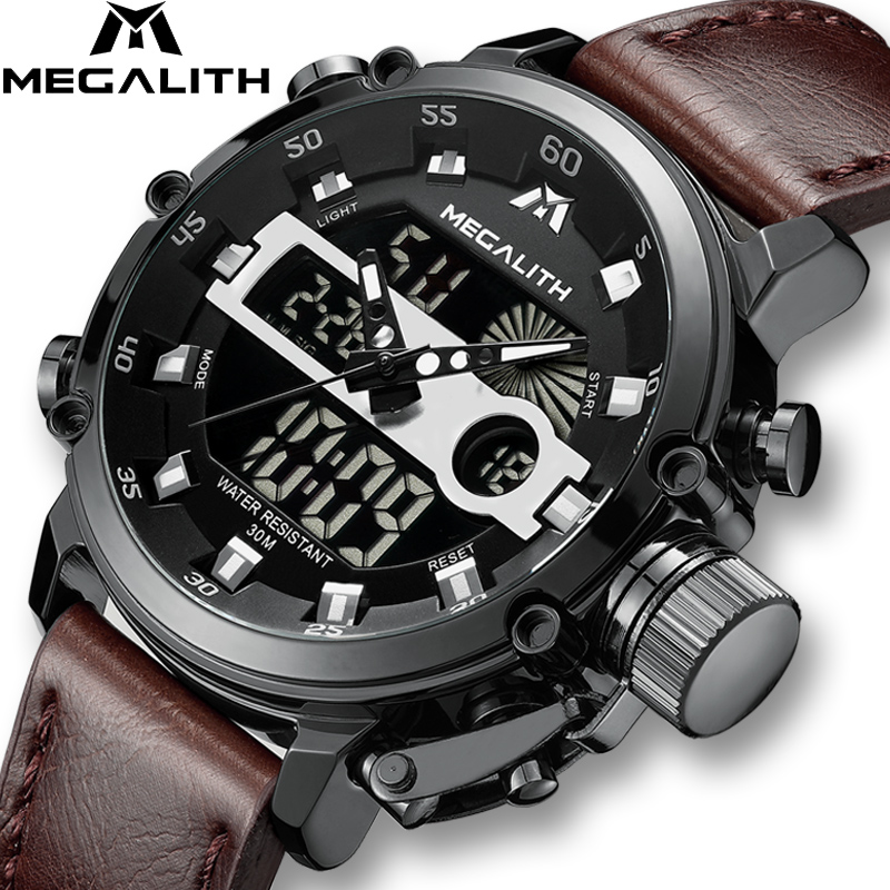 MEGALITH Moda do Esporte Dos Homens Relógio de Quartzo Dos Homens Relógio Multifuncional Luminosa À Prova D' Água Homens Relógio de Pulso Duplo Dispay Horloges Mannen