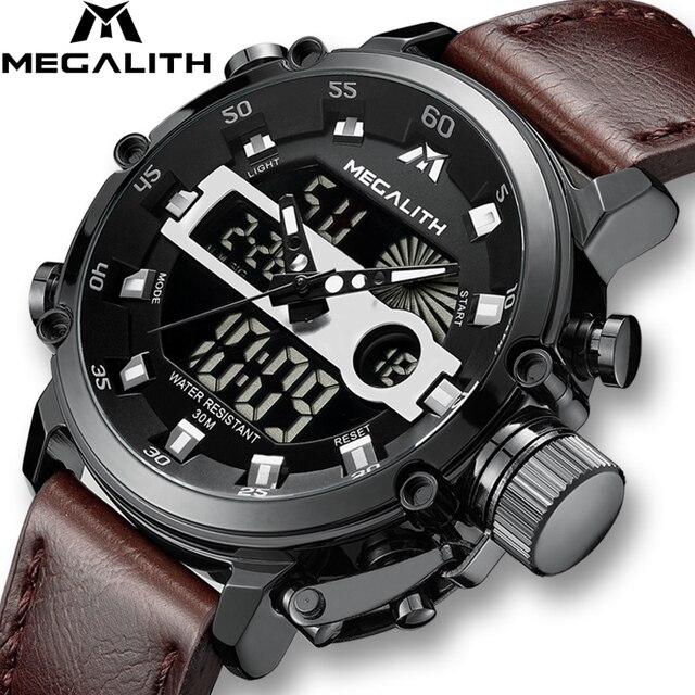 MEGALITH Модные мужские светодиодный спортивные кварцевые часы мужские многофункциональные водонепроницаемые Дата светящаяся наручные часы Мужские часы Horloges Mannen