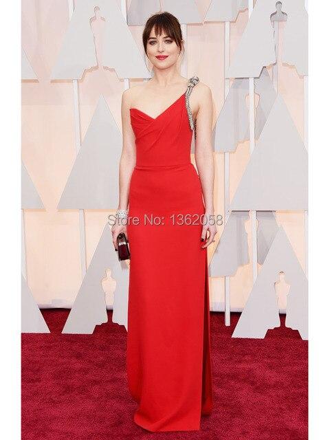 Oscar Vestidos de Dakota Johnson Uno-hombro de la Celebridad del Vestido Rojo vestido Formal de Alto Dividida