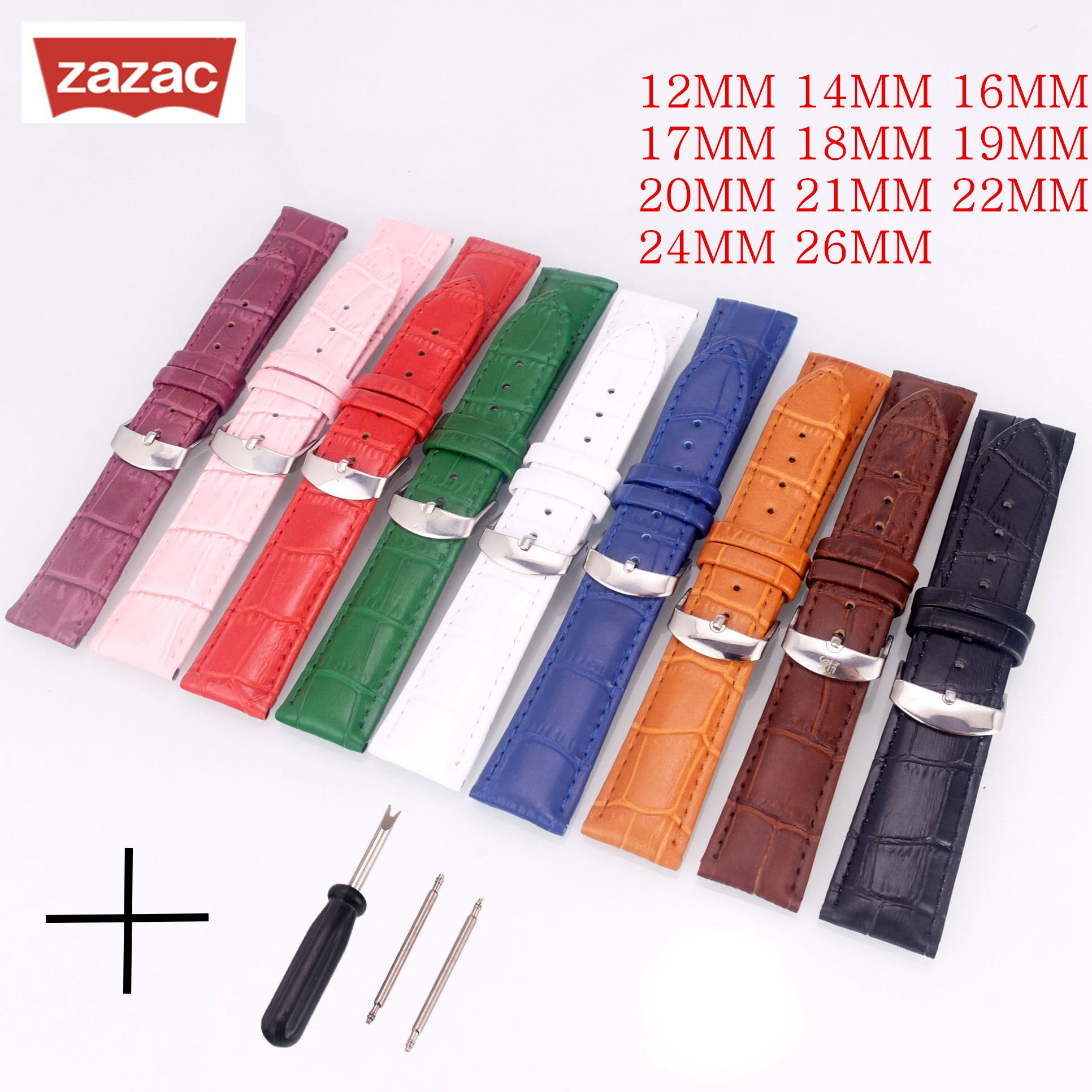 Leather Watches Band Strap 12-26mm 16mm 18mm 19mm 20mm 22mm Brown Pink White Green Black Blue Woman Man Watchbands Watch Belts