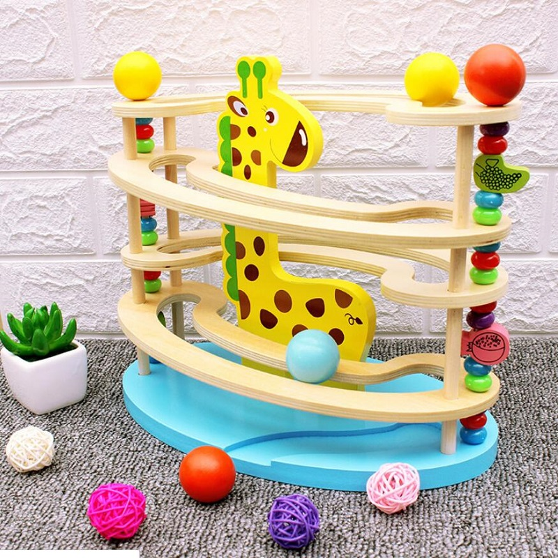 Fly AC Giraffe Track Ball Slide Slide Ball Drop And Roll Game Early Education Children Puzzle Early Education Toys