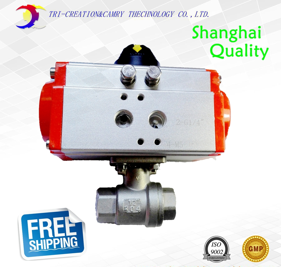 3/4 DN20 pneumatic female ball valve,2 way 304 thread stainless steel ball valve_double acting AT straight ball valve 3 4 3 way stainless steel ss304 pneumatic electric ball valve