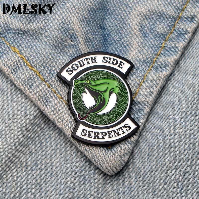 DMLSKY RIVERDALE South Side Serpants Green Snake Metal Brooch badge Enamel Pins Clothes brooch Bags Pin charm Jewelry M3168