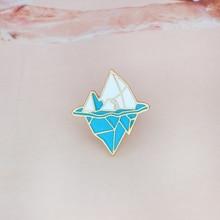 Cartoon Antarctic iceberg brooch Enamel Pin buckle White Blue Metal Snow Mountain Brooch for Coat Jacket Bag Pin Badge Jewelry