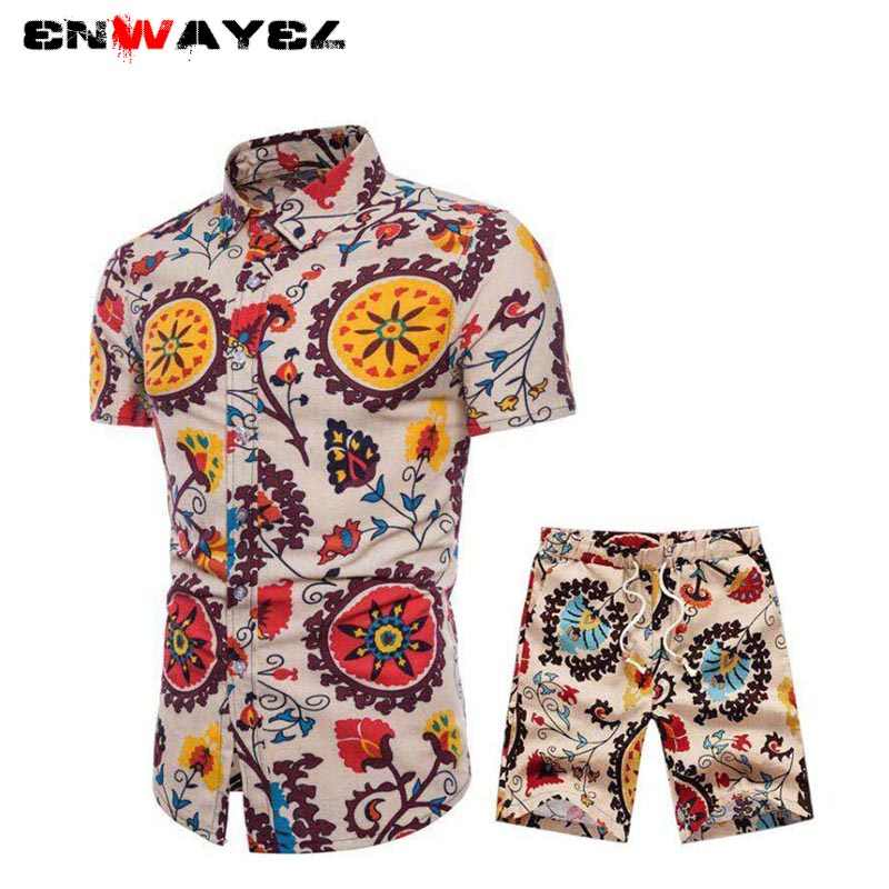 ENWAYEL 2019 Spring New National StShirts Shorts Men Set Beach National Style Print Casual Long Sleeve Shirt Tracksuit Suit Male