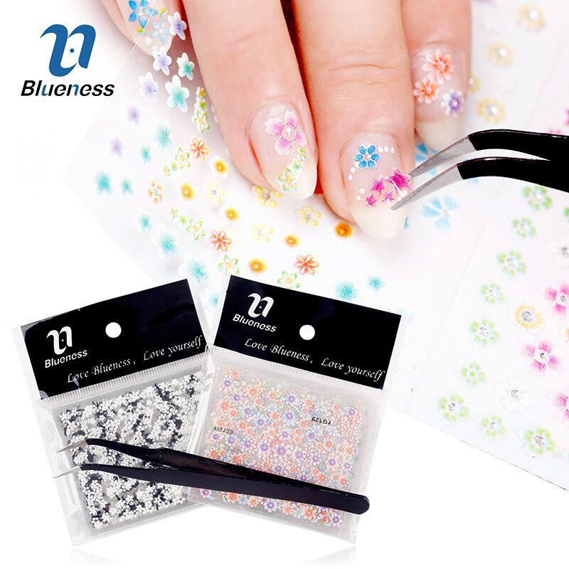 ̿̿̿(•̪ )Set Manicure Supplies 48Pcs Nail Art Decorations 3D Flowers ...