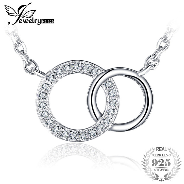 JewelryPalace Circle 1.6ct Round Cubic Zirconia Necklace Genuine 925 Sterling Si