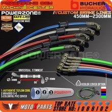 Acero trenzado para freno hidráulico de motocicleta Dirt Bike, línea de refuerzo, manguera de aceite de embrague, tubo de 450 a 2300mm, 90 a 28 grados, compatible con carreras MX
