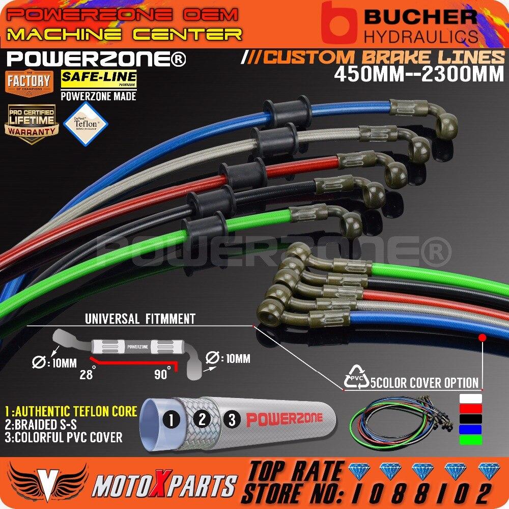 Motocicleta suciedad bicicleta trenzado acero hidráulico reforzar línea de freno embrague aceite manguera tubo de 450 a 2300mm 90-28degree fit Racing MX