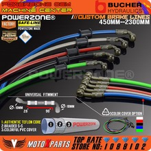 Motorcycle Dirt Bike Braided Steel Hydraulic Reinforce Brake line Clutch Oil Hose  Tube 450 To 2300mm 90 28degree Fit Racing MX