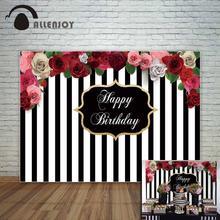 Allenjoy фон в черно-белую полоску с красивыми цветами на день рождения заказной фон для фотосессии