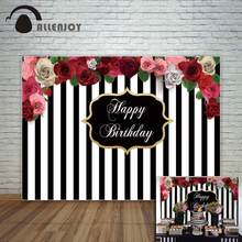 Allenjoy Black and white stripes backdrop with beautiful flowers birthday party custom backdrop photocall for a photo shoot fond(China)