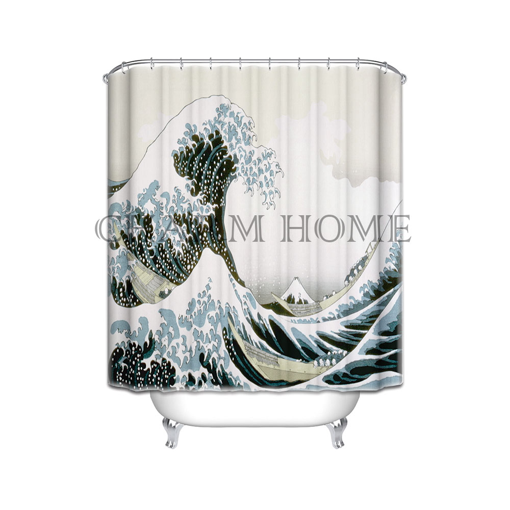 charmhome japan style sea wave pattern digital printing shower curtain polyester waterproof bathroom shower curtain 180x180cm
