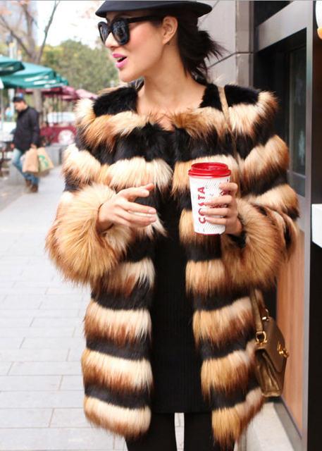 2013 Winter Hot Selling Long Striped Faux Fur Coat Luxury Fox Fur ...