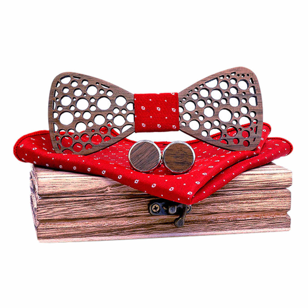 2019 New ties for men silk Casual Slim Plain Manual Wooden Bow Tie Handkerchief Set Men's Bowtie Wood Hollow Carved And Box Y716