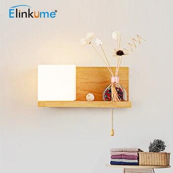 Elinkume Moderne Nordic Creatieve LED Wall Lamp AC 110-240V E27 Hout Glas Decor Licht Voor Woonkamer slaapkamer Nachtkastje Gangpad Licht