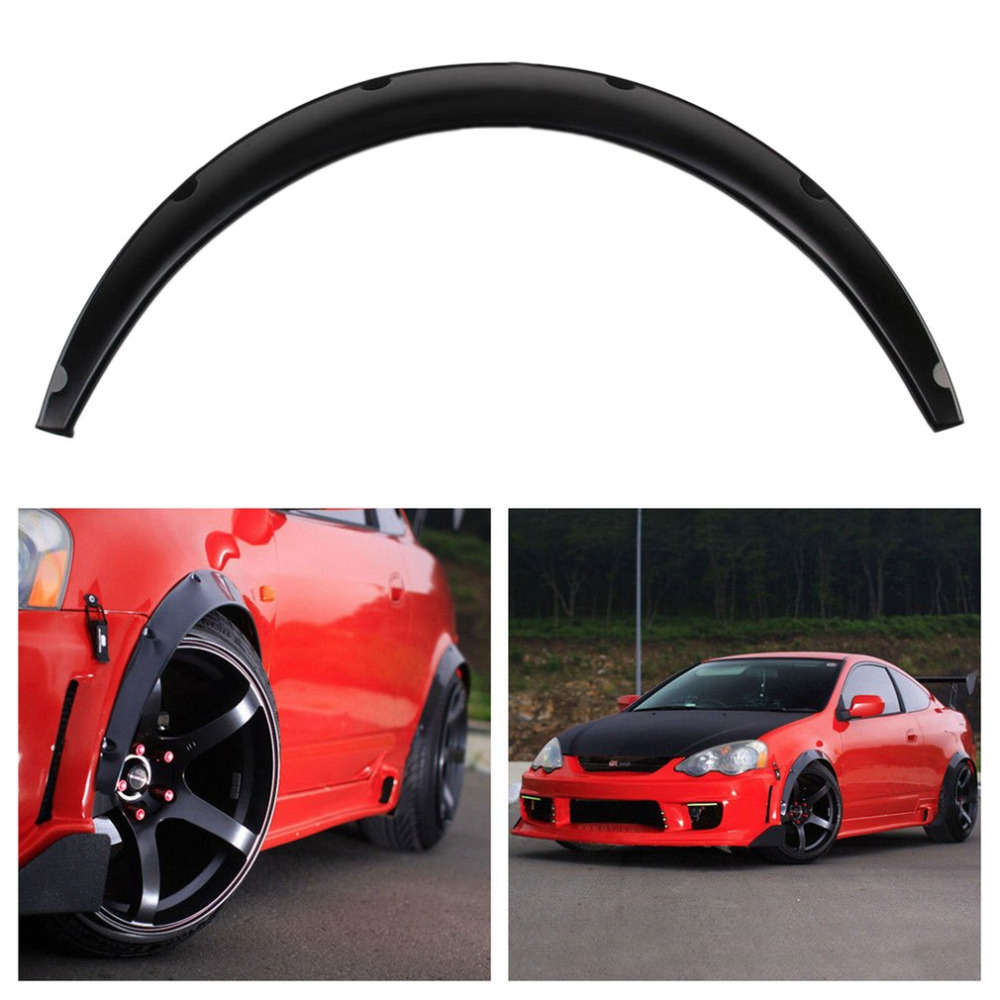 Hot 4 pcs Universal Car Auto Fender Flares Arch Wheel Eyebrow Protecting Mudguards Sticker PU Car Modification Accessory Black