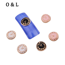 10pcs New Alloy Nail 3d Rhinestone Jewelry 3colors  Classic Clock Design Metal Nail Art Beauty Tools Decoration